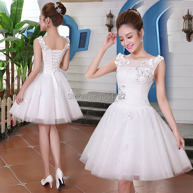2014 Princess Lace Applique Puffy Short Wedding Dresses ...