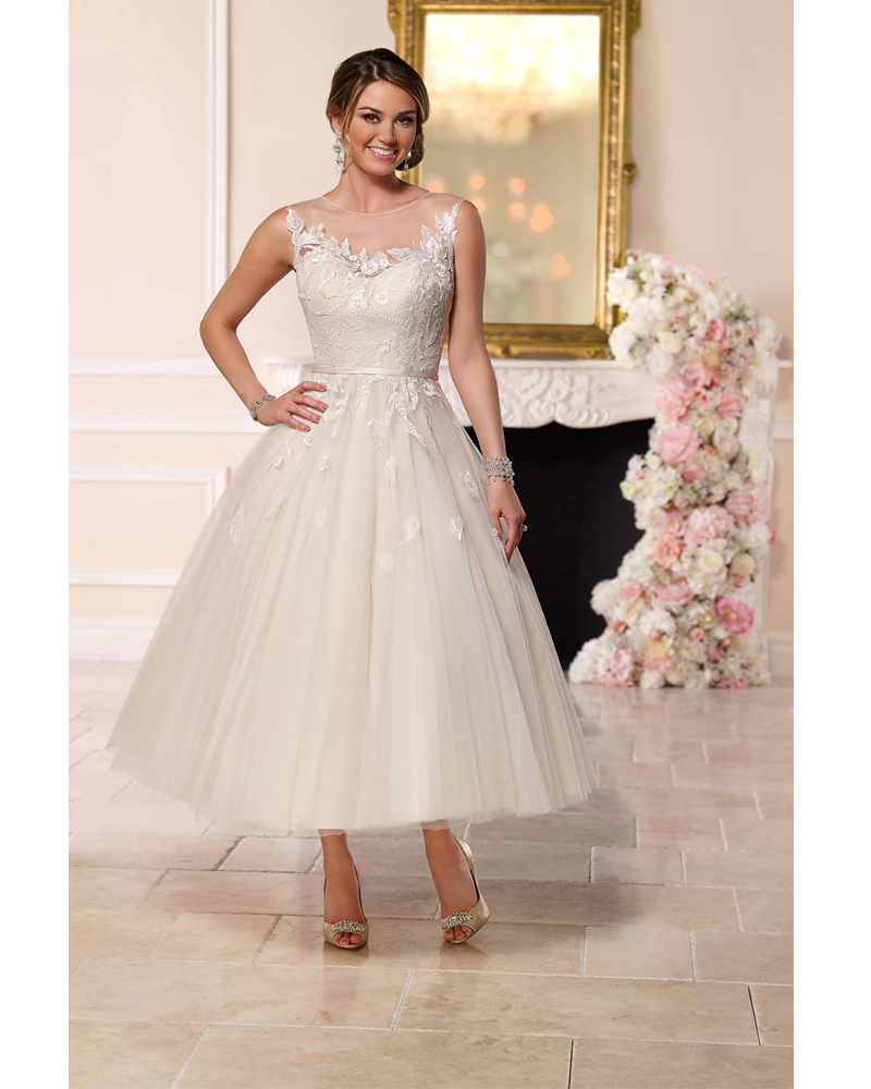 See Through Wedding Gown: Illusion Neckline Tea Length Wedding Dresses See Through