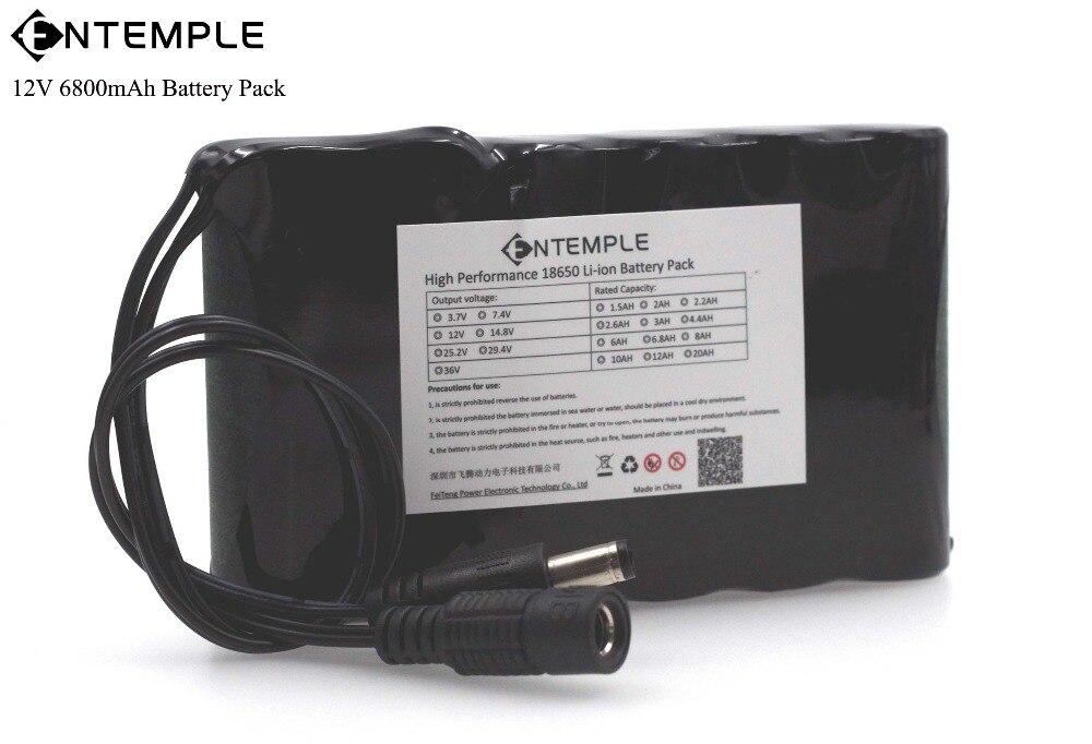 ENTEMPLE Portable Super 18650 Rechargeable Au Lithium Ion batterie capacité DC 12 V 6800 Mah CCTV Cam Moniteur