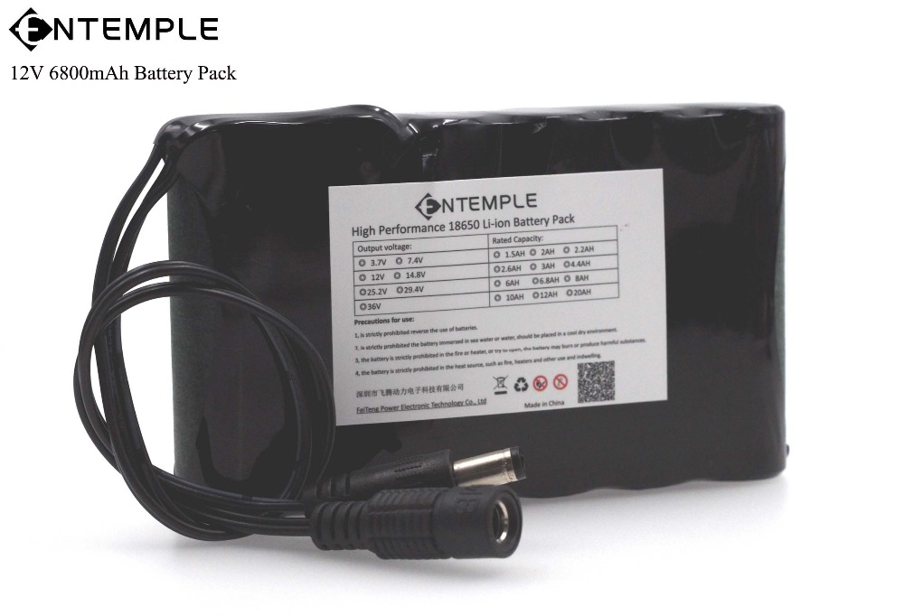 ENTEMPLE Portable Super 18650 Rechargeable Lithium Ion battery pack capacity DC 12 V 6800 Mah CCTV Cam Monitor