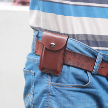 Square Mini slim key waist bag Men small belt pocket Hanging cover package Common Car keys pouch case