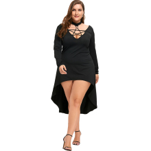 New Autumn Fashion Plus Size Lace Up Party Dress Women Casual 5XL Club Solid A Line Long Sleeve Dress