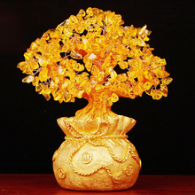 Money Tree Crystal Natural Citrine Bring Wealth Luck Creative Porch Office Crafts Birthday Home Decoration Sculptures