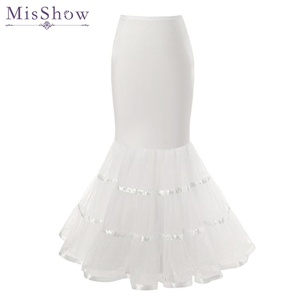 White Mermaid 3 Hoops Petticoat Tulle Underskirt Crinoline Long Petticoats For Wedding Dress Trumpet Bridal Accessories 2019