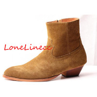 Модные Ботинки Челси мужские натуральная замша сапоги британский стиль ботильоны на молнии обувь с высоким берцем средний каблук мужские б