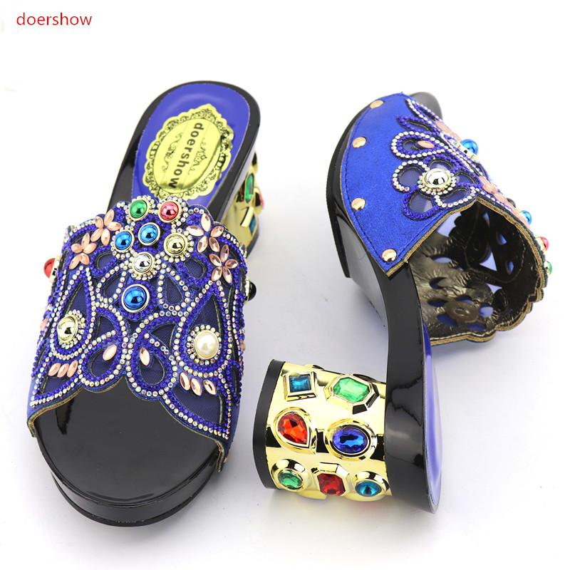 doershow New Arrival Italian Women Sandals Shoes for Party African Wedding High Heels Slip on Women Pumps Slip on WeddingKGB1-10
