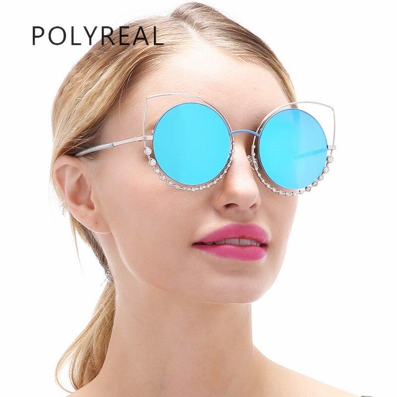 POLYREAL Women Fashion Cat Eye Sunglasses Superstar Female Vogue Elegant Mirror Cateye Rhinestone Round Lens Sun Glasses Ladies