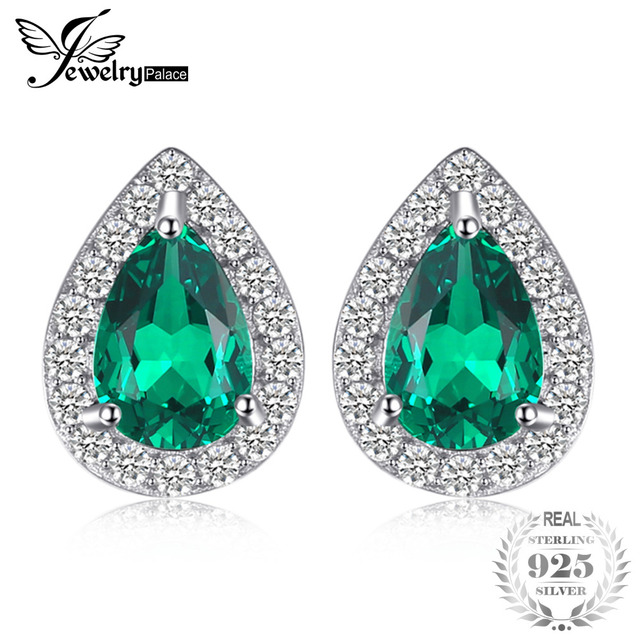 JewelryPalace 0.85ct Created Emerald Stud Earrings Charm 925 Sterling Silver Fin