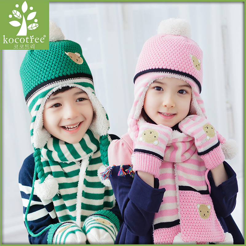 Children warm winter hat bear pattern stripe four color ear cap Three sets of scarf gloves unisex  boys  girls a new set of head cap cotton scarf dual purpose male and female geometric pattern of baotou hat