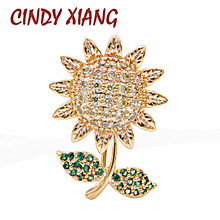 CINDY XIANG Cute Small Sunflower Collar Pins Women And Men Unisex Brooch Cubic Zirconia Copper Jewelry High Quality Kids Gift