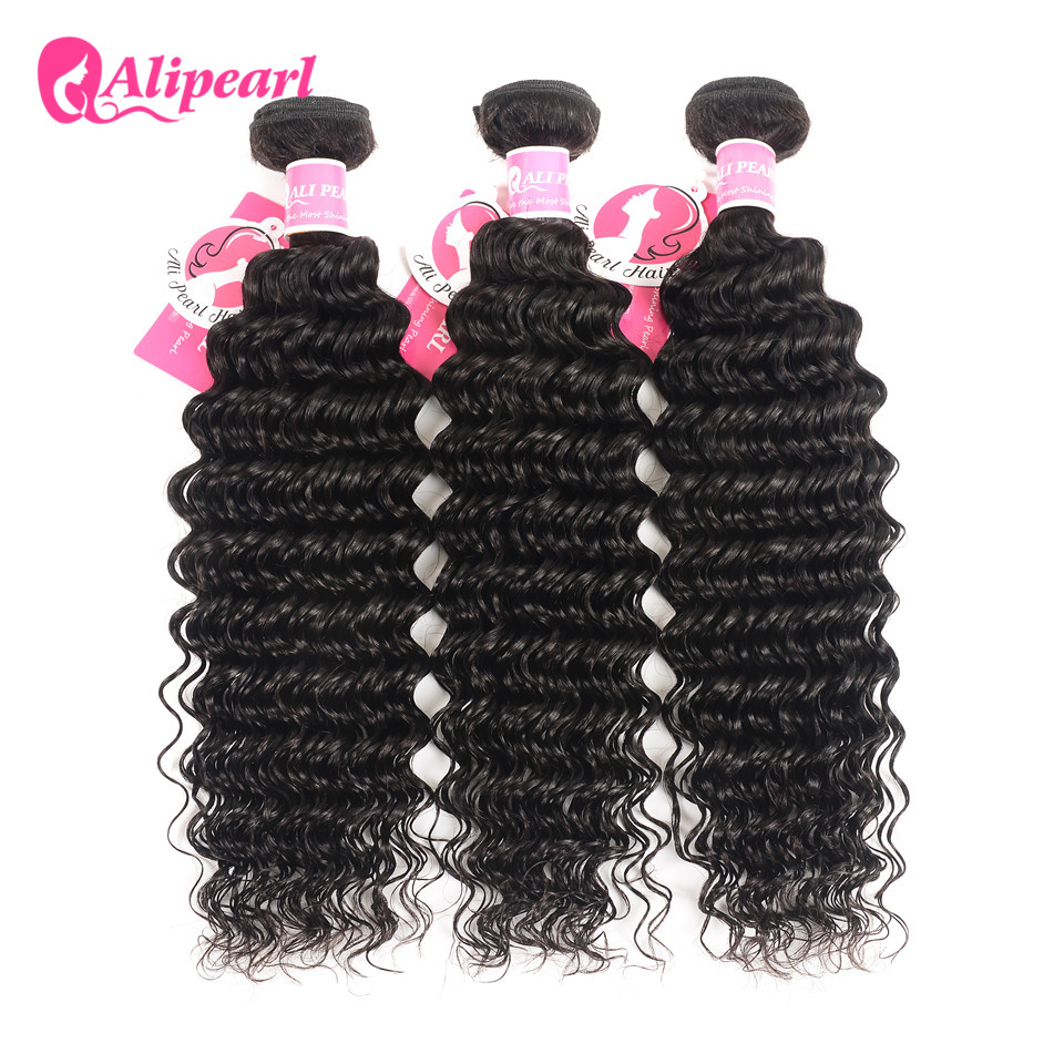 Deep Wave Human Hair Bundles With Closure 6x6 Free Part Pre Plucked Brazilian Bundles With Closure Remy Hair Extension AliPearl
