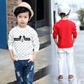 Meninos da moda Primavera Único Roupas Casuais Longo-Manga Polka Dot T Shirt Impressão Bebê Dos Desenhos Animados Menino t-shirt O-pescoço Alta qualidade