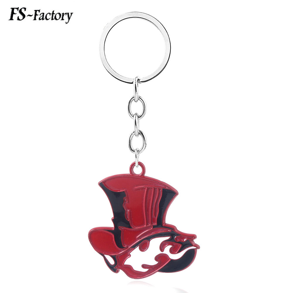 Game Persona 5 P5 Take Your Heart Logo Hat Keychain Red Metal Pendant Key Chain for Women Men Choker Keyring Jewelry image