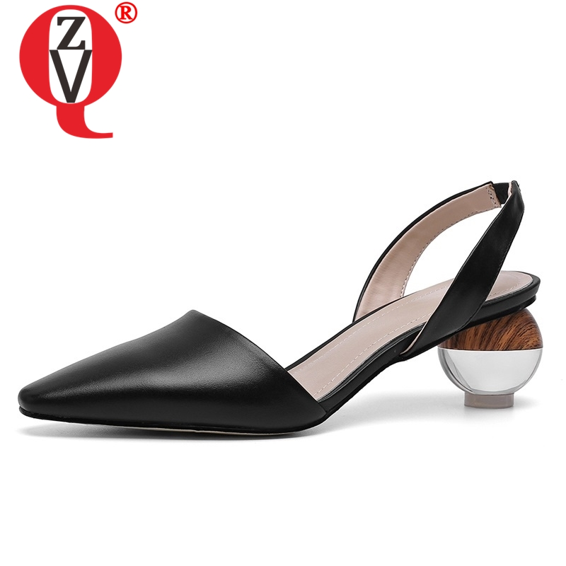ZVQ women shoes spring newest fashion sexy high quality genuine leather women pumps high strange style
