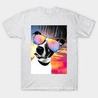 2017 New Brand Clothes Men T Shirt Short Sleeve Crazy Summer Sunglasses 3D Dog Sunset Glow
