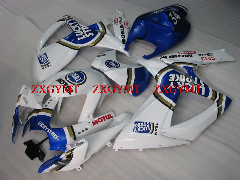 Abs Fairing for GSXR 750 2006 - 2007 K6 Motorcycle Fairing GSXR750 2006 Blue White Lucky Strike Fairings GSXR 750 07Abs Fairing for GSXR 750 2006 - 2007 K6 Motorcycle Fairing GSXR750 2006 Blue White Lucky Strike Fairings GSXR 750 07