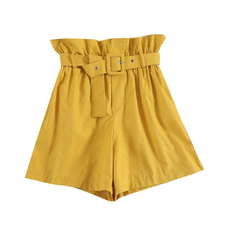Hiawatha 7 Color Korean   Shorts   Women Loose Elastic Waist Solid Color   Shorts   With Belt D9483