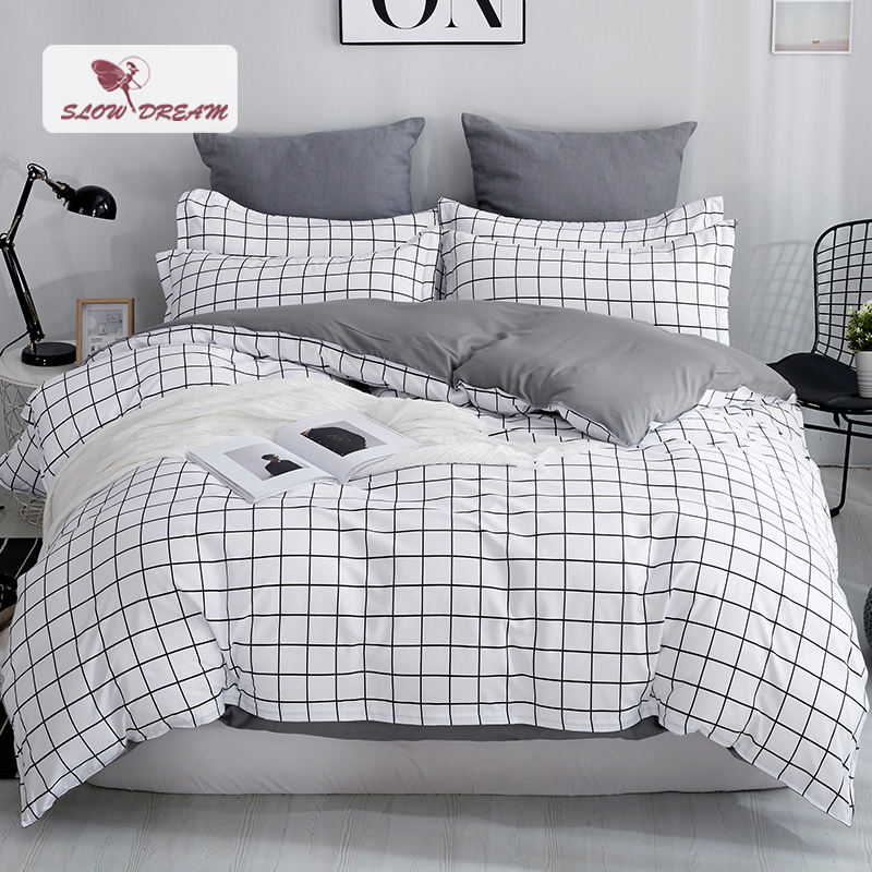 SlowDream Grid Bedding Set Mans Bedspread Comforter Cover Set Bed Linens Euro Bed Sheet Double Duvet Cover Nordic Home Bedding