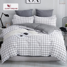 SlowDream Grid Bedding Set Mans Bedspread Comforter Cover Bed Linens Euro Sheet Double Duvet Nordic Home