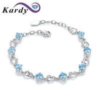 Beatiful Natural Topaz Blue Gemstone 14K White Gold Wedding Anniversary Daily Wear Bracelet Bangle Hermes for Women