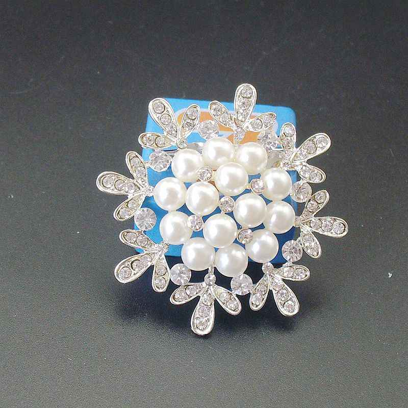 ホットファッションエレガントなラインストーンクリスタルウェディングブライダル手作り模擬真珠の花のジュエリーピン、商品番号: BH7781