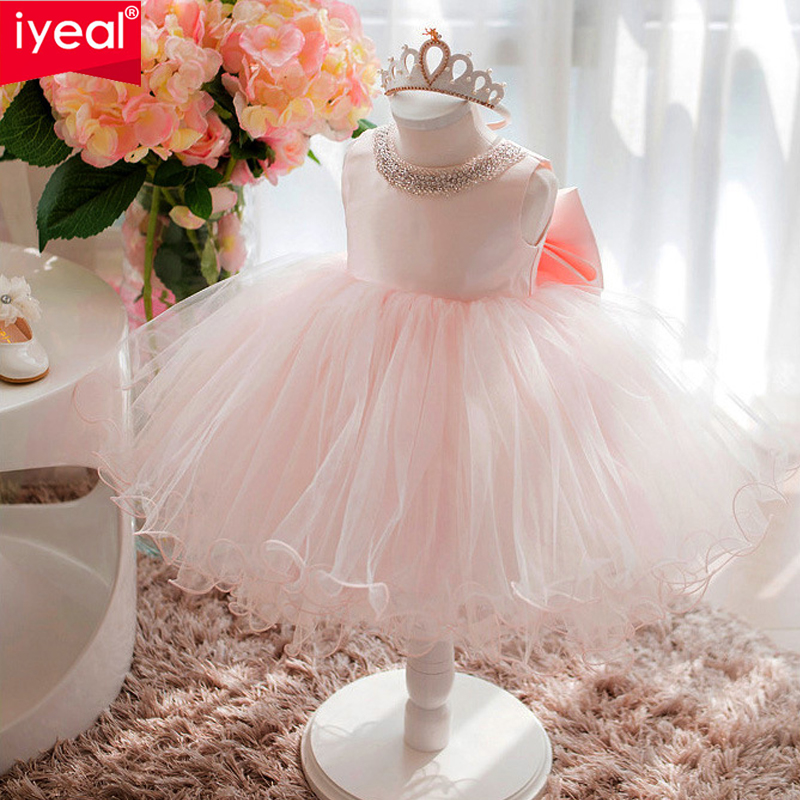 IYEAL Girl Princess Party Dress Birthday Wedding Clothes Girl Pearl Flower Sleeveless Bridal Gown Prom Dresses for Baby GirlIYEAL Girl Princess Party Dress Birthday Wedding Clothes Girl Pearl Flower Sleeveless Bridal Gown Prom Dresses for Baby Girl