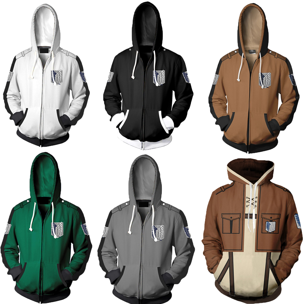 Anime Attack on Titan Unisex Hoodies Jacket Sweatshirt Shingeki no Kyojin Legion Zipper Hooded Coats Cosplay Costume