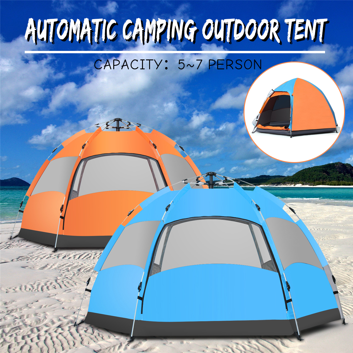 DGODDE Waterproof 5-7 People Automatic Instant Pop Up Family Tent Camping Hiking Tent Anti UV Awning Tents Outdoor Sunshelter