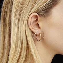 2016 fashion lady delicate copper minimalist style Solid geometry cross round beautiful earrings stud