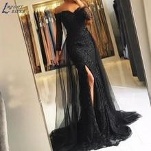 WYG012 Lace Long Evening Dresses 2019 Mermaid V neck Formal Islamic Dubai Saudi Arabic Long Elegant Evening Gown Prom Dresses