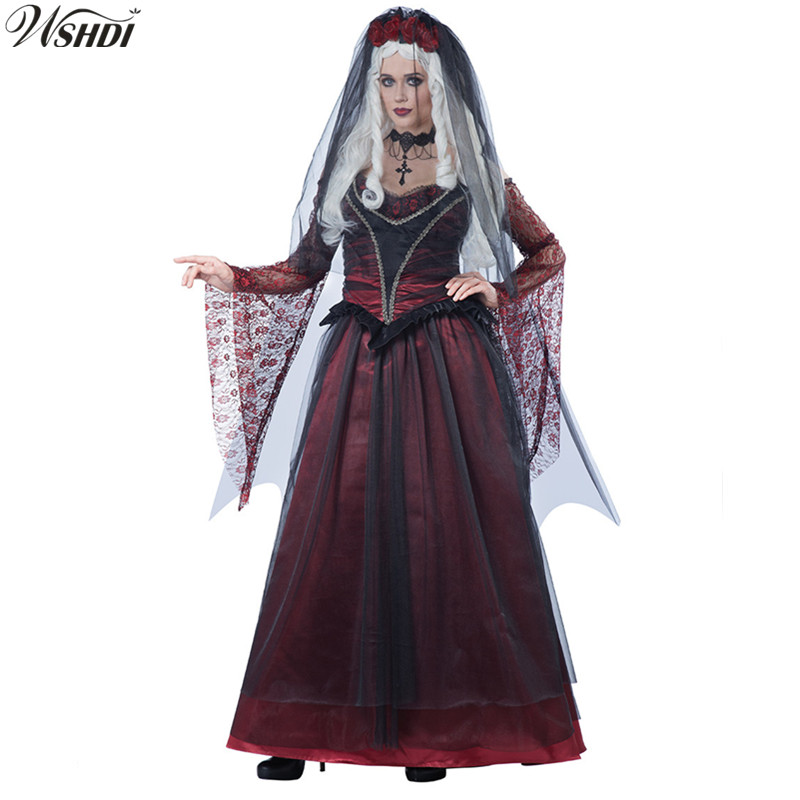 Red & Black Lace Ghostly Bride Scary Costume Halloween