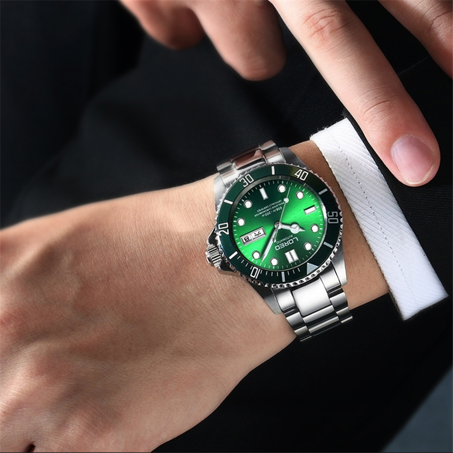 LOREO Water Ghost Series Classic Double Calendar Luxury Men Automatic Watches Stainless Steel 200m Waterproof Mechanical Watch