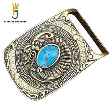 FAJARINA Unique Design Dragon Mother Pattern Embossed Turquoise Decorative Solid Brass Old Style Smooth Buckles for Men BCK002