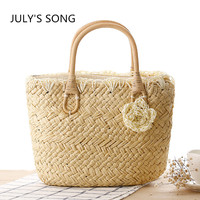 New 2017 women handbags Cute little flower candy colored straw shuolder bag weave woven beach bag tote shopping bag