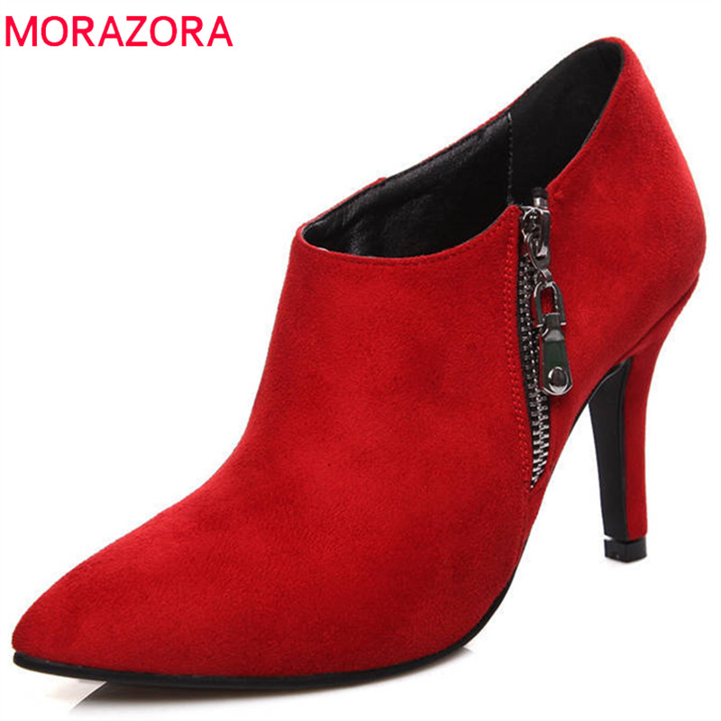 MORAZORA 2018 new arrival pumps women shoes pointed toe spring high heels shoes elegant fashion party wedding shoes woman new arrival fucshia color pointed toe women wedding shoes 10cm high heels woman pumps ladies fashion shoes free shipping