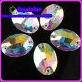 O envio gratuito de 50 ~ 200 pçs/lote Sew oval em cristal pedra AB cor 10x7mm sew base de Prata em strass botão contas