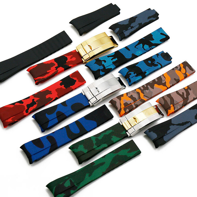 Rubber strap mens camouflage watch accessories for Rolex water ghost GMT waterproof silicone strap female 20mm men watch band