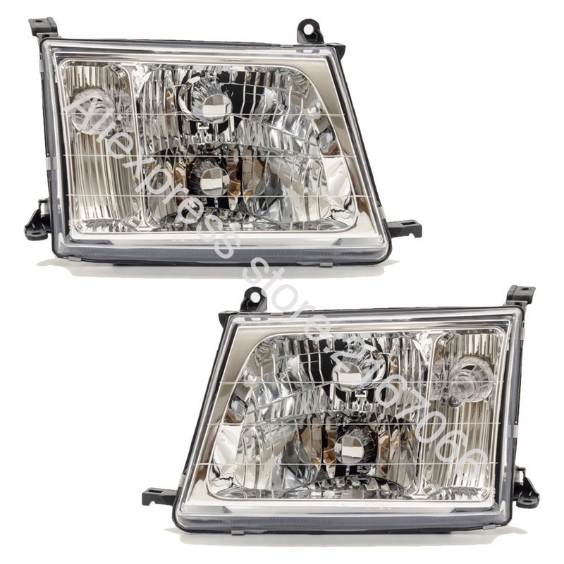 Headlights Pair for Toyota Land Cruiser 100 2000 2001 2002 2003 2004 2005 Headlamps Left + Right Side - Manual Leveling