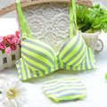 2017 new Lolita cotton Summer Academy wind light stripes 3-breasted bamboo carbon fiber underwear bra suits cute bra