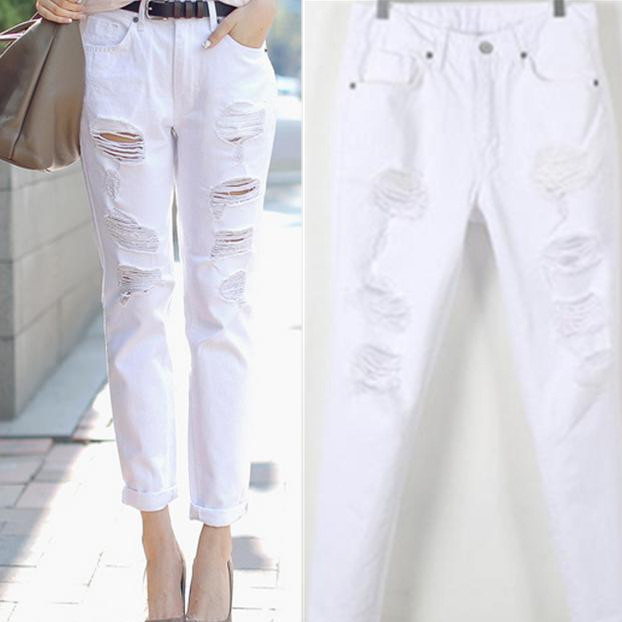New White Loose Harem holes jeans Female feet cotton   pants     capris   Ladies plus size 6XL