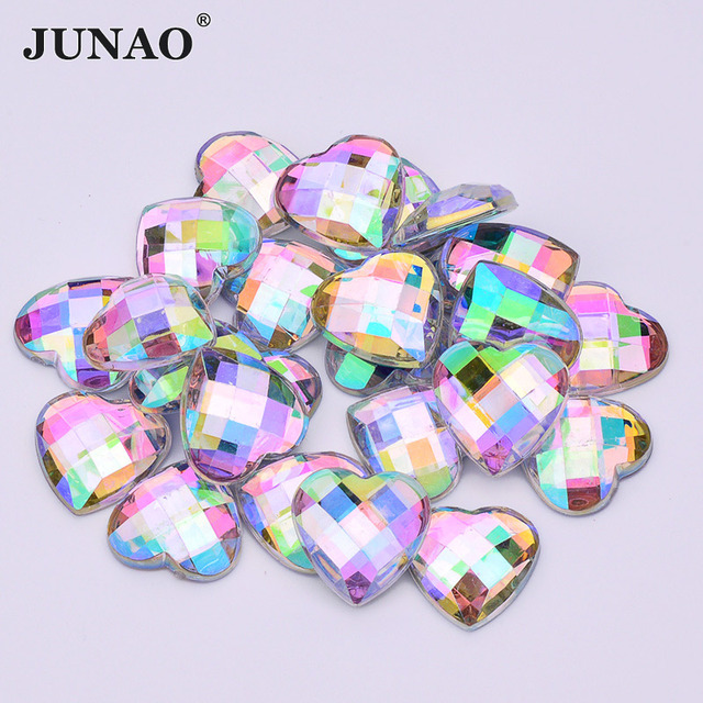 JUNAO 8 10 12 14 18mm Crystal AB Heart Rhinestones Flat Back Acrylic  Crystal Strass Non Hotfix Clear Crystals Stones for Clothes c79aa21b90e3