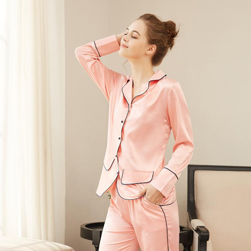 Sets Women Sleepwear Suit Sexy fashion homewear Silk Pajamas Long sleeve Women Female Sleepwear Home Sleep Lounge Style