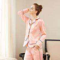 Sets Women Sleepwear Suit Sexy fashion homewear Silk Pajamas Long sleeve Women Female Sleepwear Home Sleep Lounge Style
