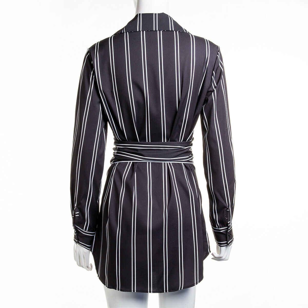 Горячая Женская свободная весенне-летняя модная повседневная офисная стильная одежда черного цвета с длинными рукавами в полоску Топы Блузка Рубашки Платье s-xxl