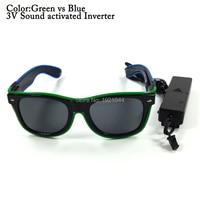 Fashion Double Color 100pcs Voice Control Light Up EL Wire Glowing Sunglasses Party DIY Props Decoration