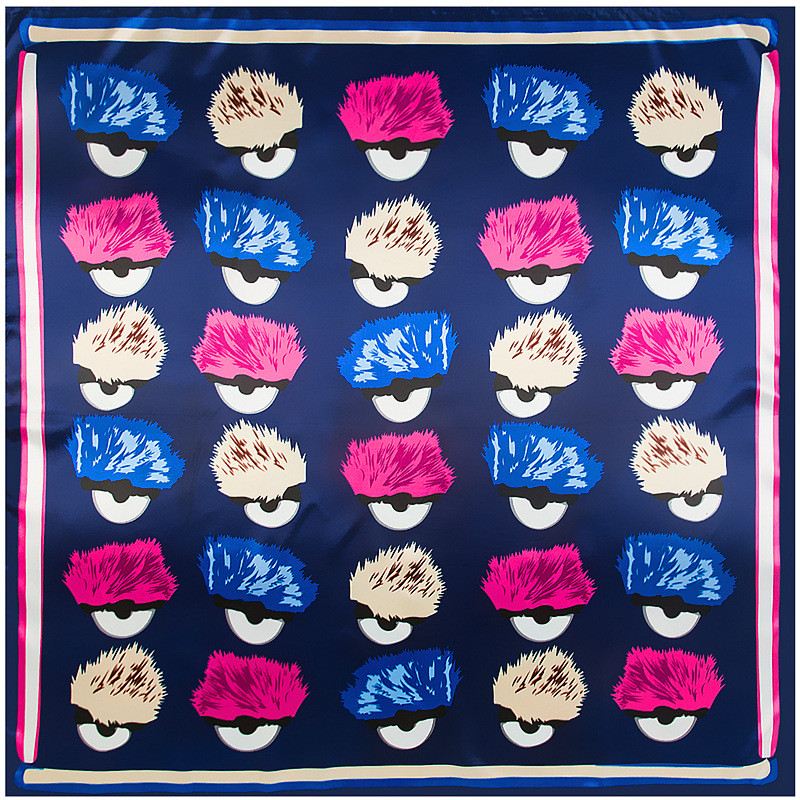 MENGLINXI 2019 New Brand Shawl Twill Women Silk Scarf Little Monster Eyes Print Square Scarves Wraps Fashion Hijab Headband