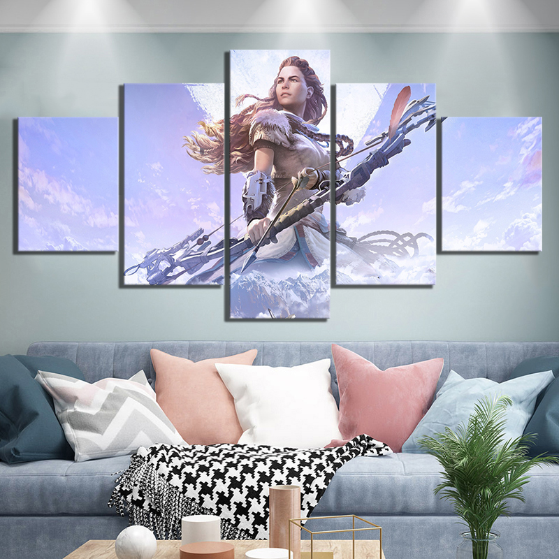 5 Piece HD Fantasy Art Female Archer Pictures Horizon Zero Dawn Video Game Poster Wall Sticker Artwork Canvas Paintings Wall Art 1