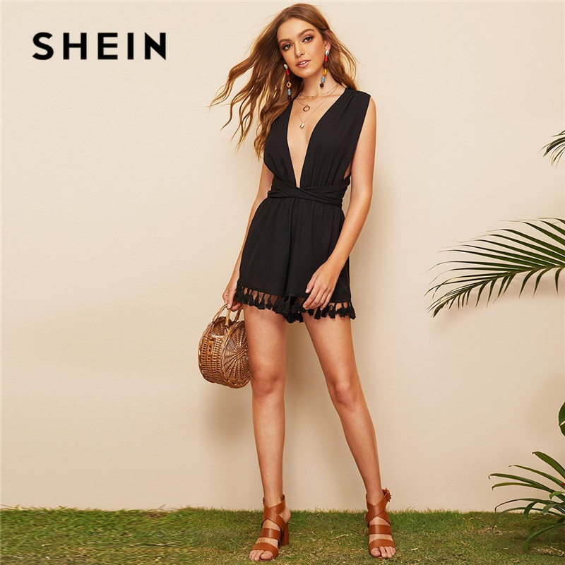 SHEIN Criss-Cross Back Plunge Neck Tassel Hem Sexy Romper Womens   Jumpsuit   Shorts Boho Solid Sleeveless High Waist Summer Romper