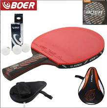 Best quality carbon bat table tennis racket with rubber PingPong Paddle short pen table tennis rackt long handle offensive(China)
