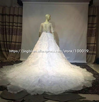 Hot Sale Luxury Soft Tulle Hand Made Flower Pearl Beads Crystal Royal Train Custom Size Wedding